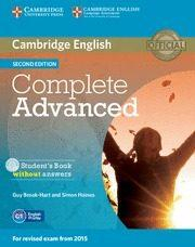 Libro COMPLETE ADVANCED STUDENT S BOOK WITHOUT ANSWERS WITH CD-ROM 2ND EDITION