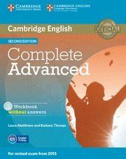 Libro COMPLETE ADVANCED WORKBOOK WITHOUT ANSWERS WITH AUDIO CD 2ND EDITION