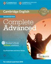 Libro COMPLETE ADVANCEDSTUDENT S BOOK WITHOUT ANSWERS WITH CD-ROM & TESTBANK