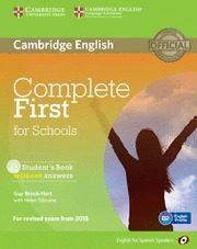 Libro COMPLETE FIRST FOR SCHOOLS FOR SPANISH SPEAKERS STUDENT S BOOK WI THOUT ANSWERS WITH CD-ROM