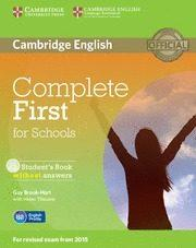 Libro COMPLETE FIRST FOR SCHOOLS STUDENT S BOOK WITHOUT ANSWERS WITH CD-ROM