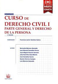 Libro CURSO DE DERECHO CIVIL I: PARTE GENERAL Y DERECHO DE LA PERSONA