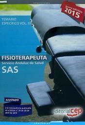 Libro FISIOTERAPEUTA. SERVICIO ANDALUZ DE SALUD. TEMARIO ESPECÍFICO. VOL.IV
