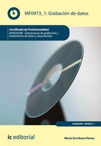Libro GRABACION DE DATOS MF0973_1: OPERACIONES DE GRABACION Y TRATAMIENTO DE DATOS Y DOCUMENTOS