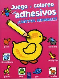 Libro JUEGO Y COLOREO CON ADHESIVOS. ¡CUANTOS ANIMALES!