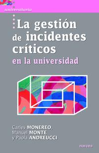 Libro LA GESTIÓN DE INCIDENTES CRÍTICOS EN LA UNIVERSIDAD