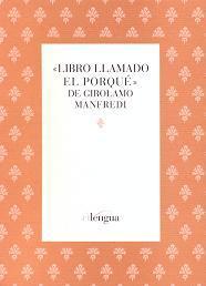 Libro LIBRO LLAMADO EL PORQUE DE GIROLAMO MANFREDI
