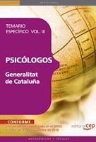 Libro PSICOLOGOS DE LA GENERALITAT DE CATALUÑA. TEMARIO ESPECIFICO  VOL III. TEMARIO VOL. III