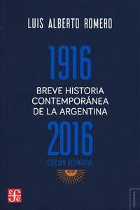Libro BREVE HISTORIA CONTEMPORÁNEA DE LA ARGENTINA (1916-2016)